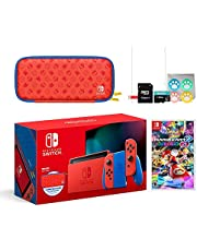 Nintendo 2021 Switch Mario Red & Blue Limited Edition with Mario Iconography Carrying Case and Screen Protector Bundle with Mario Kart 8 Deluxe and Mytrix Accessories