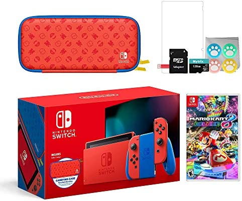 Mytrix 2021 New Switch Mario Red & Blue Limited Edition with Mario Iconography Carrying Case and Screen Protector Bundle with Mario Kart 8 Deluxe and Accessories