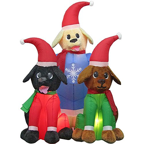 Home Accent Christmas Decoration, Inflatable Plush Lab Puppy Scene 4 ft 7 (4' Labrador Retriever)