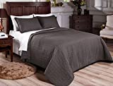 Mk Collection 3pc Quilted bedspread Embroidery Solid Dark Grey 100% Cotton Pre-Washed New (King)