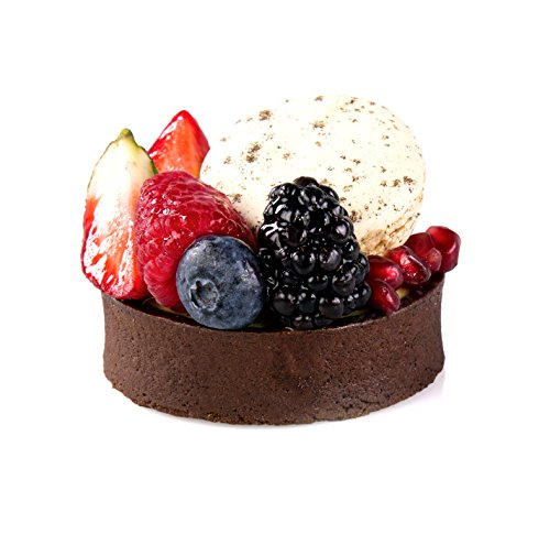Chocolate Round Tart Shell Straight Edge Coated Inside with Cocoa Butter - 3'' Diameter - 60 pces by Pastry Chef's Boutique (Image #1)