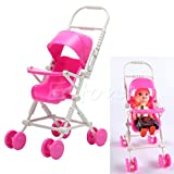 Stebcece New Pink Assembly Baby Stroller Trolley Nursery Furniture Toys For Barbie Doll