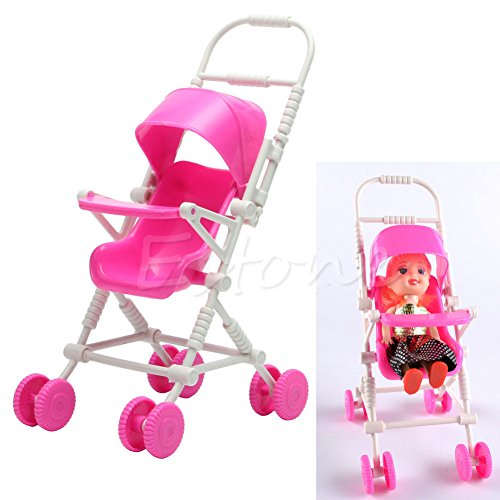Stebcece New Assembly Pink Baby Stroller Trolley Nursery Furniture Toys For Barbie Doll
