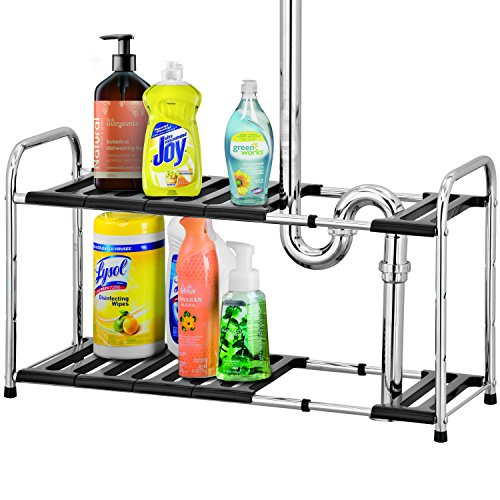 2-tier Chrome Under Sink Expandable Storage Shelf Kitchen Bathroom Organizer Rack