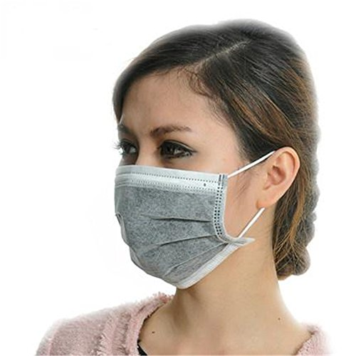 ZWZCYZ 50 Pcs Disposable Earloop Face Mask Filter Mask Germ Dust Protection Four Layer Activated Carbon Filter Medical Procedure Surgical Face Mask Disposable Masks (Grey) (50 Masks ( 4Ply ))