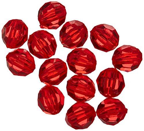 DARICE 06100-5-T19 6mm Faceted Christmas Bead (480 Pack), Red]()