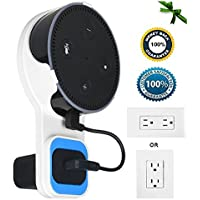 Outlet Wall Mount Hanger Stand Case with Mini USB Cable for Echo Dot, Cleanly Hang Echo Dot on Wall Outlet Vertical Horizontal, No Messy Wires or Screws, Kitchen, Bathroom, 2nd Generation (White)