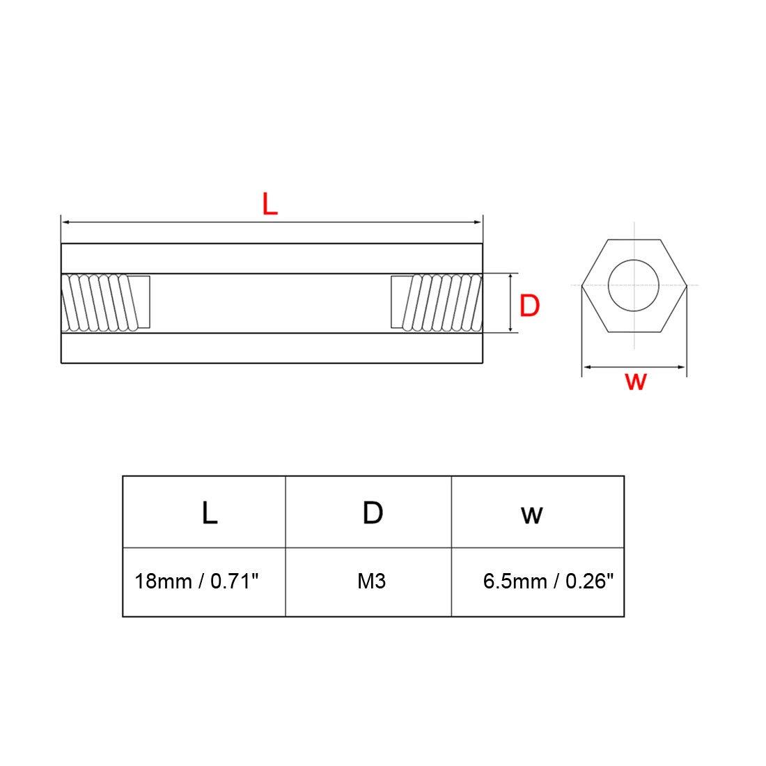 uxcell 1000pcs 3x5x5mm Nylon Straight Insulating Tube PCB Pillar Standoff Spacer