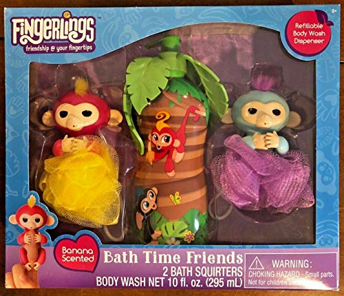 (FingerLings Bath Time Friends 2 Bath Squirters & Body Wash Banana Scented)