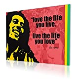 """Alonline Art - Bob Marley Love The Life Alonline Designs PRINT On CANVAS (Synthetic, UNFRAMED Unmounted) 27""""x20"""" - 68x51cm Oil Paints Wall Art Pictures Canvas For Living Room Canvas For Bedroom"""