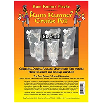 Amazon Com Genuine Rum Runner Cruise Kit 3 32oz And 3 8oz Flasks Plus A Funnel Alcohol And