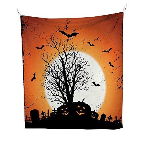Vintage Halloweenfunny tapestryGrunge Halloween Image with Eerie Atmosphere Graveyard Bats Pumpkins 60W x 80L inch Quote tapestryOrange Black]()