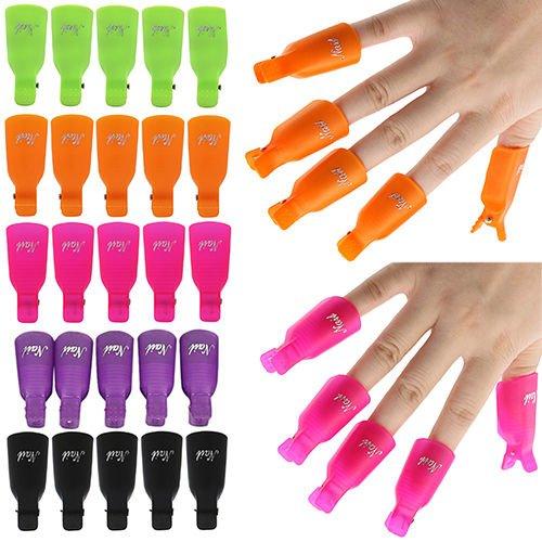 10pcs plástico Nail Soak Off UV Gel Art Polish Remover Wrap Gelish Clip Cap IL