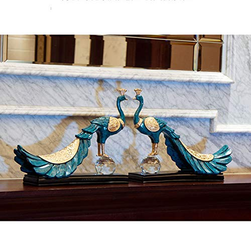 Home Decoration, Hand-Painted Resin Crafts Peacock Ornaments Sculpture Living Room Decorations Nordic Decorative Wine Cabinet Home (Color : 5) by None (Image #9)