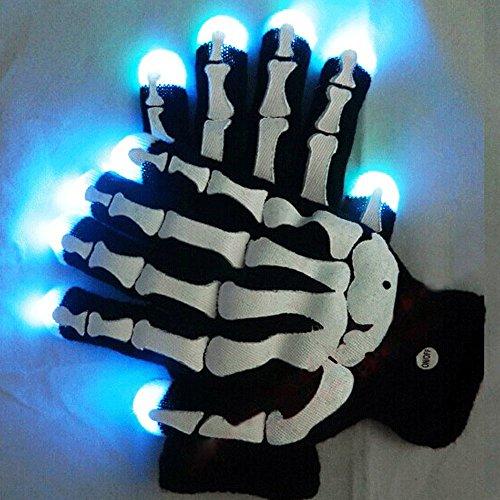 ESUMIC RGB SKULL Raver Glove LED 7Colors Light Show Gloves HALLOWEEN Gloves
