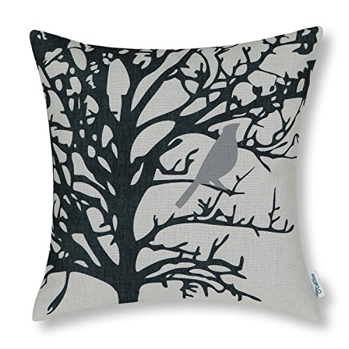Black Grey Cream (CaliTime Canvas Throw Pillow Cover Case for Couch Sofa Home, Cute Bird Tree Branches Silhouette, 18 X 18 Inches, Gray Black)