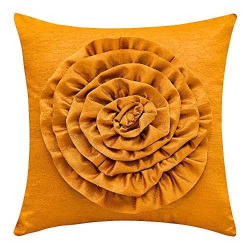 (The White Petals Ochre Decorative Pillow Cover (3D Flower, 18x18 inch, Pack of 1))