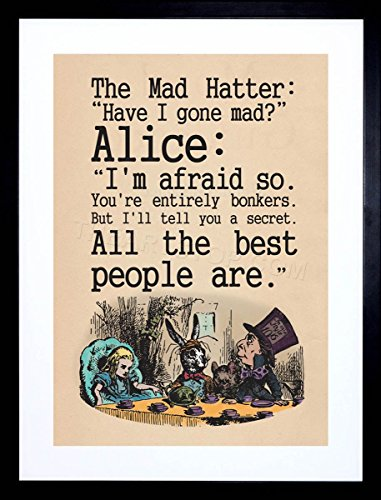 Party Large Framed Print - The Art Stop Quote Carroll Book Alice Wonderland MAD Hatter Tea Party Framed Print F12X8039
