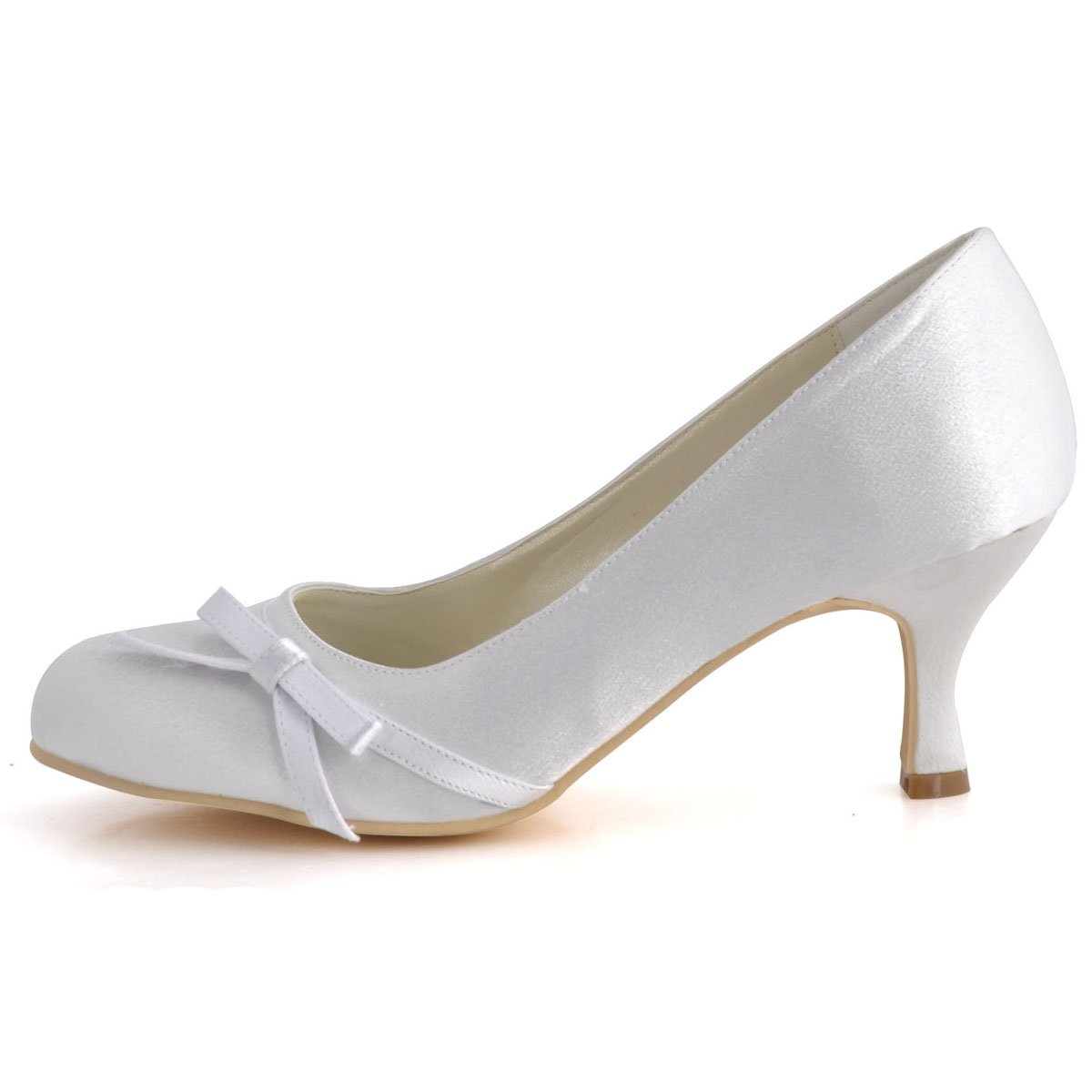 57d3215bf9 ElegantPark A0756 Women Pumps Closed Toe Heels Bowknot Prom Spool Heels  Satin Wedding Party Shoes: Amazon.co.uk: Shoes & Bags