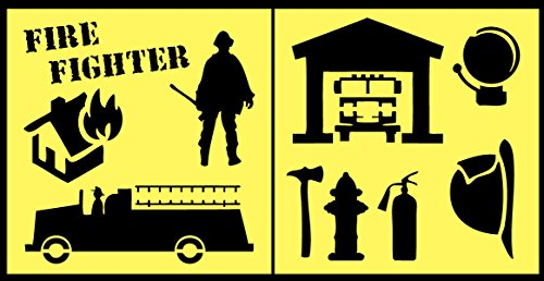 Auto Vynamics - STENCIL-FIREFIGHTERSET01-10 - Detailed Firefighter & Equipment Stencil Set - Includes Fire Truck / Station, Helmet, Axe, & More! - 10-by-10-inch Sheet - (2) Piece Kit - Pair of Sheets
