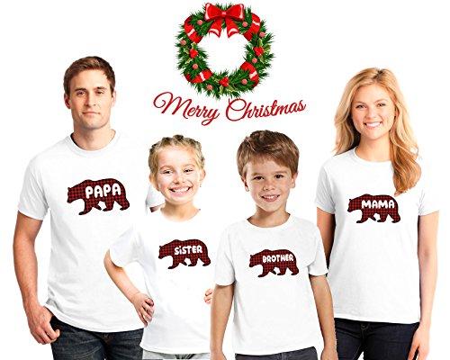 Bear Personalized Christmas Family Pajama Matching Plaid Bear Shirts,Family Christmas Plaid Bear pajama shirts (Monogrammed Christmas Pajamas)