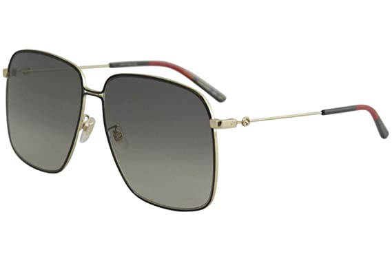 afed2ec77f188 Gucci GG 0394S 001 Black Gold Metal Square Sunglasses Grey Gradient Lens