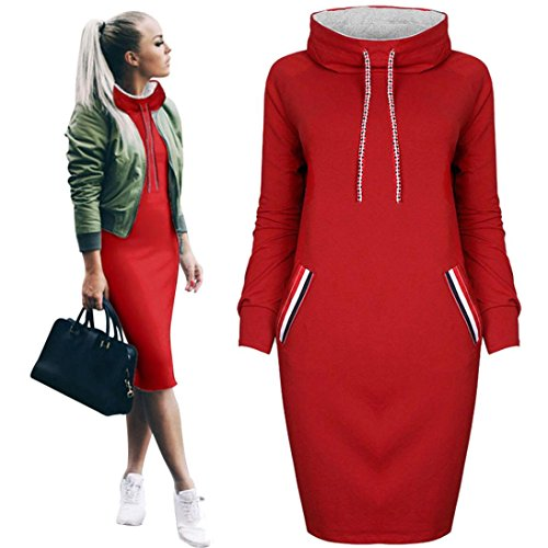 Han Shi Casual Shirt Dress, Women Withdraw Turtleneck Long Sleeve Mini Bodycon with Pockect (M=(US S), Red)