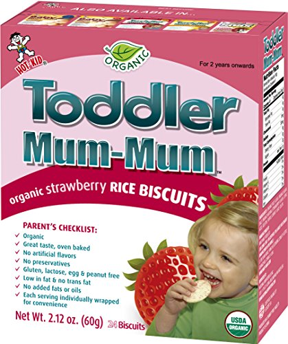 Price comparison product image Hot-Kid Toddler Mum-Mum Rice Biscuits, Organic Strawberry, 24-pieces, (Pack of 6)