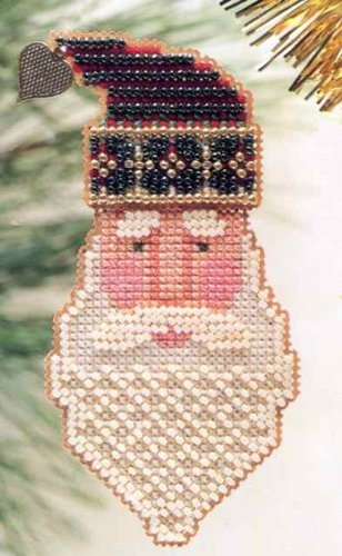 Saint Nick Beaded Counted Cross Stitch Kit Mill Hill 1999 Charmed Santa Faces MHCSF18 - Mill Hill Charms