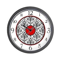 CafePress Red Black White Damask Elegant Clock Unique Decorative 10 Wall Clock