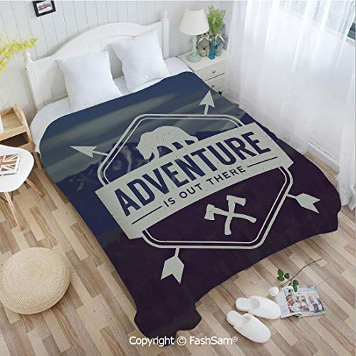 PUTIEN Flannel Fleece Blanket with 3D Adventure Logo with a Motivational Quote Hatchets and Bear Mountain Landscape Decorative Blanket for Home(49Wx59L)