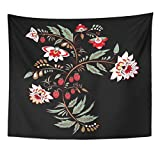 (US) TOMPOP Tapestry Rose Stock Flowers and Leaf Oriental Russian Bouquet Abstract Antique Home Decor Wall Hanging for Living Room Bedroom Dorm 50x60 Inches