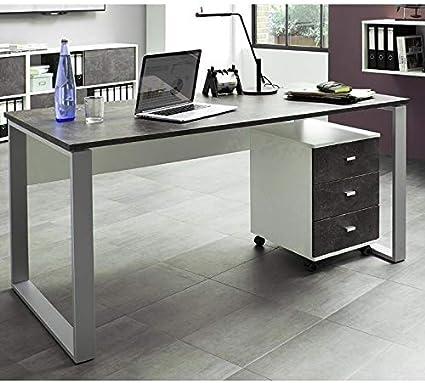 Muebles de oficina escritorio Set ○ Color Blanco Basalto oscuro ...