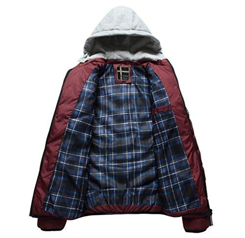 Outwear Degli Imbottito Baymate Trapuntato All'aperto Rosso Casuale Piumino Parka Inverno Caldo Uomini qnxI6wvFCx