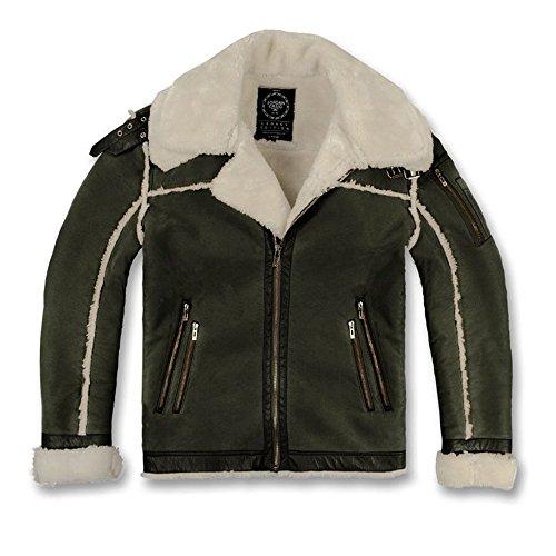 Jordan Craig Double Collar Calagary Shearling Men's Jacket Olive 91313aa-olive (Size XL) by Jordan Craig