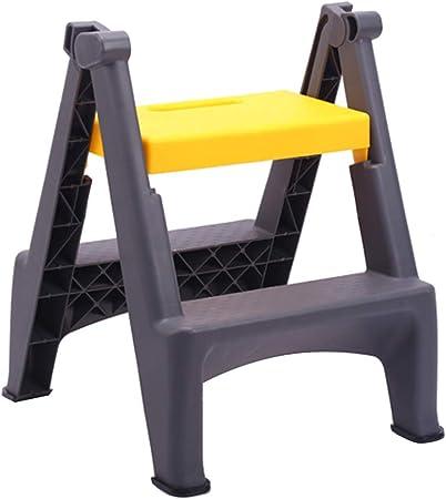CAIJUN Taburete De Escalera Plástico De Ingeniería Escalera De 2 Escalones Multifunción Plegable Portátil Conjunto Entero Casa, 3 Colores Doble Uso (Color : Amarillo, Tamaño : 47.5x51.5x59cm): Amazon.es: Hogar