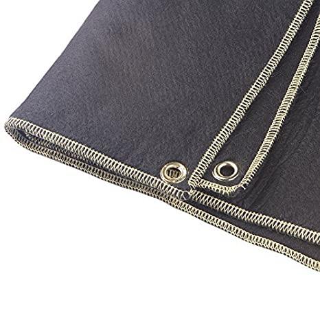 Weldflame 18.5x18.5 Carbonized Felt Plumbers Welding Blanket with Kevlar Stitched Edge 4 Grommets