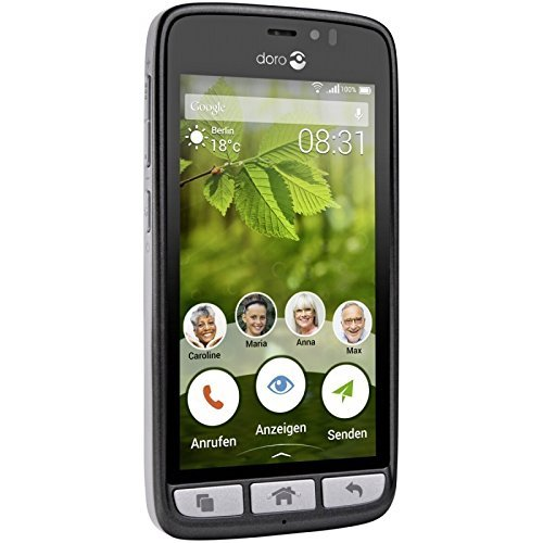 Doro 824 Senior-Friendly, easy-to-use Android Smartphone w/5-inch Display, 1.2GHz Quad-Core Processor, 8MP Camera (Black)