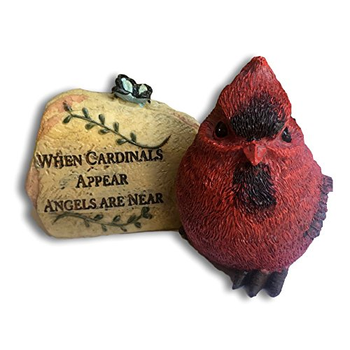 Cardinal Desk Rock - When Cardinals Appear Angels are Near - Memorial Sentiment with Red Cardinal Design - in Loving Memory of a Loved One by Banberry Designs