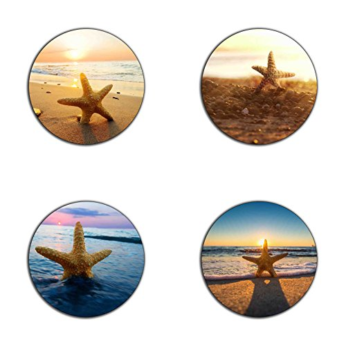 (Beach and starfish pattern round coaster set - Made of recycled rubber - set of 4)