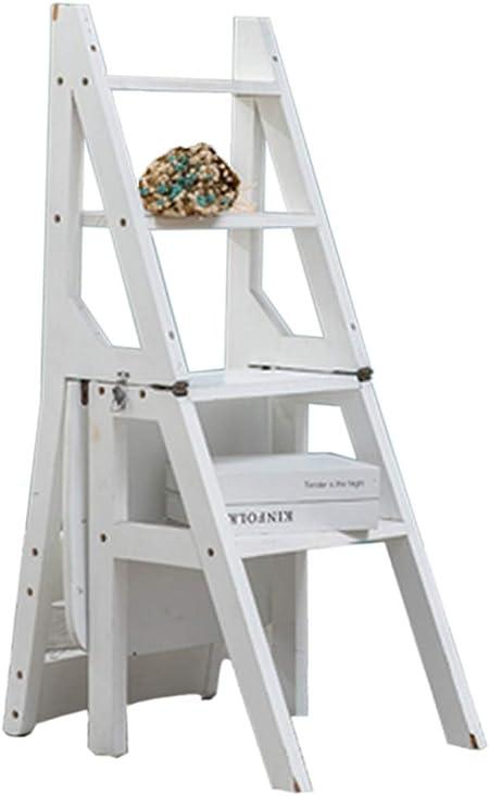 Silla de Escalera con 4 escalones Plegado Multifuncional Taburete Escalera de Madera Escalera de Tijera Madera de Pino para casa Jardín Oficina de la Cocina de la Biblioteca en Blanco: Amazon.es: Hogar