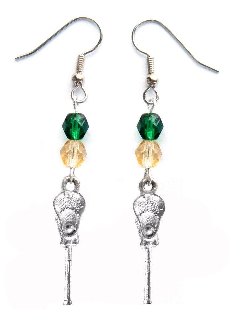 ''Lacrosse Stick & Ball'' Lacrosse Earrings (Team Colors Forest Green & Gold)