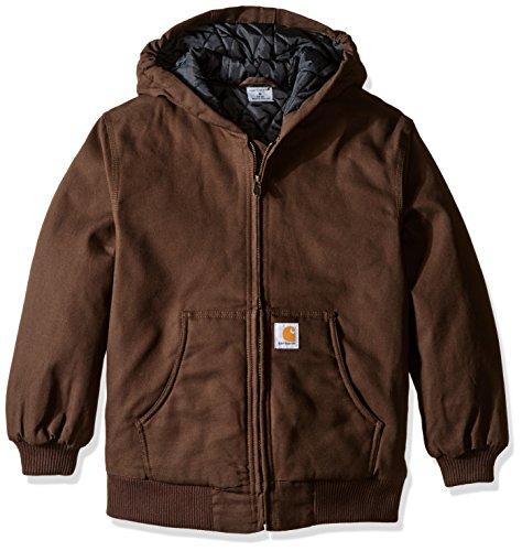 Carhartt Boys' Big Quilt Lined Work Active Jacket, Dark Brown, X-Large (18/20)