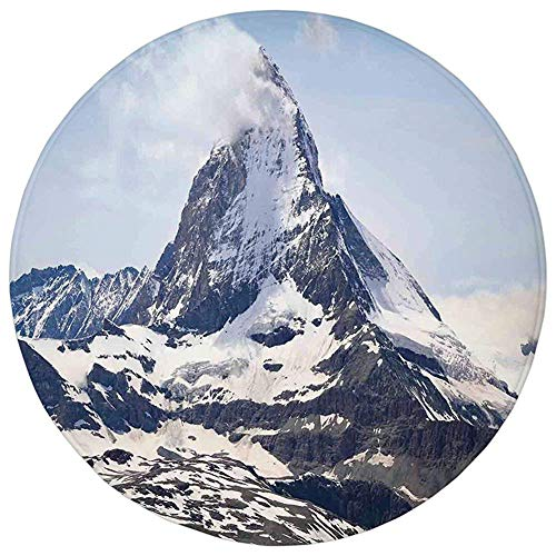 (Round Rug Mat Carpet,Farmhouse Decor,Matterhorn Summit with Cloud Mountain Scenery Glacier Natural Beauty,Blue White Black,Flannel Microfiber Non-slip Soft Absorbent,for Kitchen Floor Bathroom)