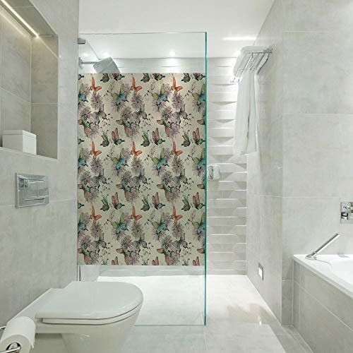 Privacy Window Film Frosted Glass Film,Flying Animals Hand Drawn Watercolor Effect Image Soft Color Palette Wildflowers Decorative,Customizable size,Suitable for bathroom,door,glass etc,Multicolor