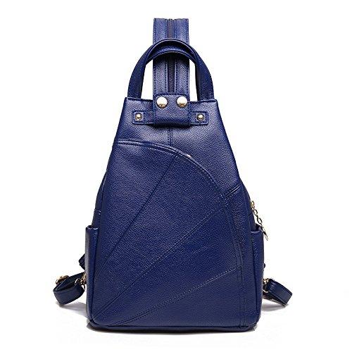 Mujer Mochila PU Señoras Moda Suave Cuero Simple Casual Señoras Bolsa De Hombro Blue