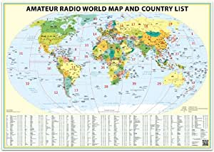 24x36 Ham Radio World Map 2018 Edition, with the DXCC country list.