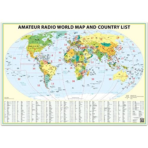 Countries maps amazon 24x36 ham radio world map 2018 edition with the dxcc country list gumiabroncs Gallery
