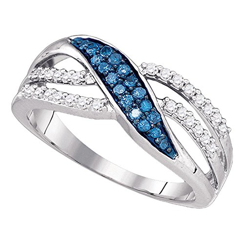 Blue Diamond Crossover Band Solid 10k White Gold Fashion Ring X Design Wave Style Polished Fancy 1/3 ctw (Gold Wave White Design)