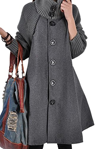 ARRIVE GUIDE Womens Loose Single Breasted High Neck Wool Blend Trench Coat Gray M
